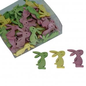 Holzosterhasen gelb-grün-rosa 4cm 72Stk