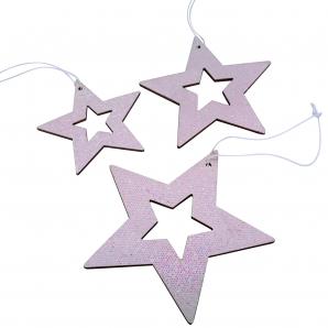 Hologramm-Sterne zum Hängen rosa 3fach sortiert 9Stk
