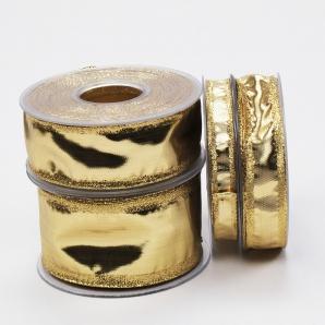 Weihnachtsband Klondike Goldband glänzend in 4 Breiten