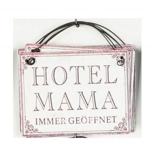 Metallschild Hotel Mama, zum Hängen weiß 10x8cm 1Stk