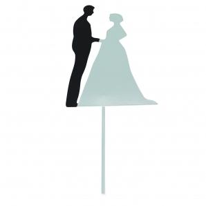 Brautpaar schwarz weiß zum Stecken 12x9cm 4Stk