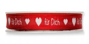 Schrift Dekoband Für Dich rot 10mm18m