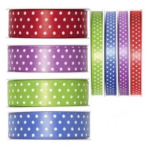 Dekoband Satin mit Punkten in verschiedenen Farben und Größen