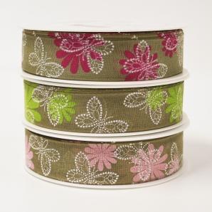 Schmetterling Dekoband Leinenoptik in drei Farben 25mm20m