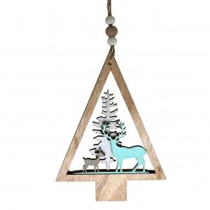 Weihnachtsbaum mit Weihnachtsmotiv aus Holz natur türkis 14,5x10cm 8 Stk