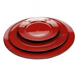 Platte / Dekoteller rund glänzend rot in drei Größen