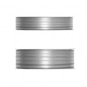 Doppel Satinband grau 50m in zwei Größen