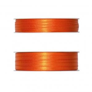 Doppel Satinband orange 50m in zwei Größen