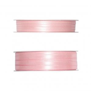 Doppel Satinband rosa 50m in zwei Größen