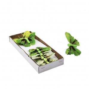 Feder-Schmetterlinge grün 6x8cm 12Stk