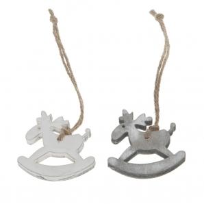 Schaukelpferdhänger grau-weiß 5cm 10Stk