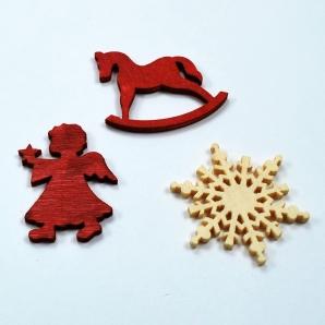 Holz-Streuteile Weihnachten gemischt rot 72Stk