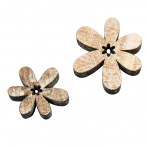 Holzblüten weiß-washed 4cm 22Stk