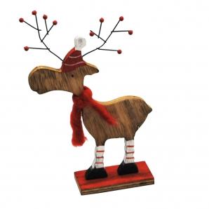 Holzrentier rot-braun 23cm 1Stk