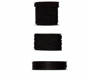 Kordelband - schwarz in drei Größen