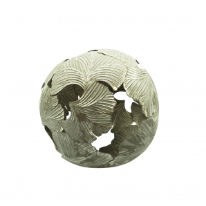 Metallkugel Blätter grau Ø14cm 1Stk