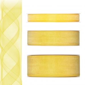 Dekoband Organza gelb 50m in drei Größen
