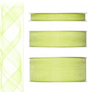 Dekoband Organza grün - maigrün 50m in drei Größen