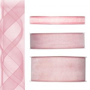 Dekoband Organza rosa 50m in drei Größen