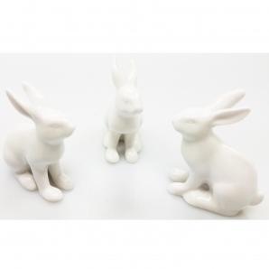 Osterhase Keramik weiß 8x6x3cm 6Stk