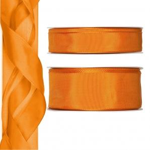 Satinband - Drahtkante orange 25m in zwei Größen