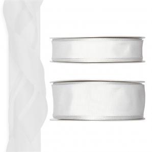 Satinband - Drahtkante weiß 25m in zwei Größen