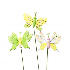 Blumenstecker Schmetterling in Frühlingsfarben 8cm 12Stk