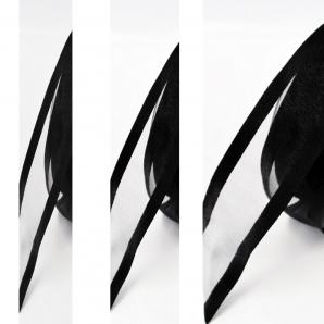 Dekoband Organza schwarz mit Randstreifen 25m in verschiedenen Breiten