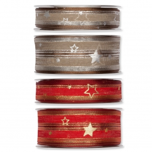 Weihnachtsband mit Sternen und Streifen in 2 Farbkombinationen und 2 Breiten
