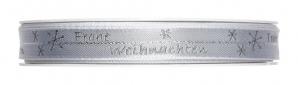 """Weihnachtsband """"Frohe Weihnachten"""" grau mit Silberkante 15mm20m"""