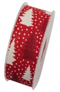 Weihnachtsband Tannenbaum rot-weiß 40mm20m