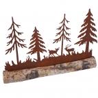 Weihnachtslandschaft rost auf Baumstamm 28x18cm 1Stk