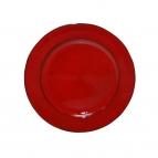 Platte / Dekoteller rund glänzend rot 22cm 1Stk
