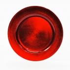 Platte / Teller rot rund mit breitem Rand Ø25cm