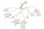 Holz-Engel und Sterne am Band zum Hängen 3-7cm 8Stk