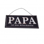 Metallschild Papa ist der Allerbeste, zum Hängen blau 17x10cm 1Stk