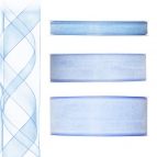 Dekoband Organza blau - hellblau 50m in drei Größen