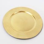 Platte / Dekoteller rund gold mit breitem Rand Ø25cm