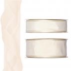 Satinband - Drahtkante creme 25m in zwei Größen