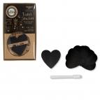 Tafelsticker schwarz Herz Ø7cm 24Stk