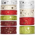 Weihnachtsband Sterne versch. Farben und Breiten 25m