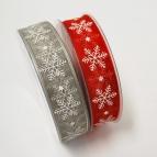 X!Weihnachtsband Schneeflocke rot und grau 25mm20m