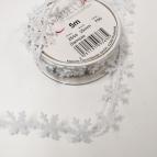 Weihnachtsband Schneeflocke weiß 25mm5m