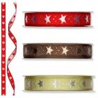 Weihnachtsband Sterne versch. Farben 15mm20m