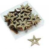 Holzsterne mit Strasseffekt gold 4cm 48Stk