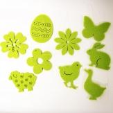 Filzhänger aus Frühlingsmotiven grün  6 cm 48 Stück