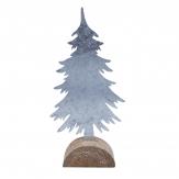 Metalltannenbaum groß silber auf Baumscheibe 34x15cm 1Stk