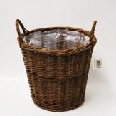 Korbtopf rund aus ungeschälter Weide in braun mit Griffen h:24cm d:30cm