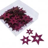 Hologramm-Sterne pink 3fach sortiert 48Stk
