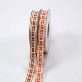 Weihnachtsband Norwegerstern mit gestickten Sternen 15mm20m in 2 Farben